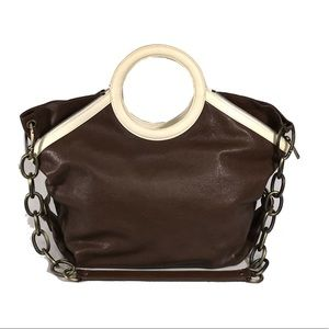 WORTH Chestnut Leather Susie Tote Bag